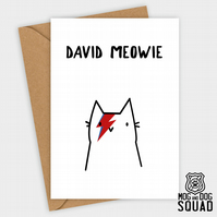 David Bowie Meowie Cat Birthday card