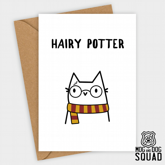 Harry Potter Birthday Card.Hairy Harry Potter Cat Birthday Card