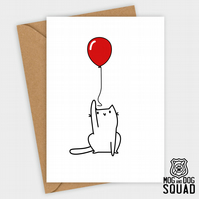 Cat and balloon Birthday card