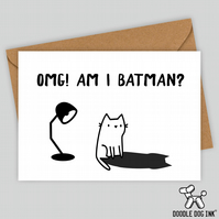 Batman cat shadow Birthday card