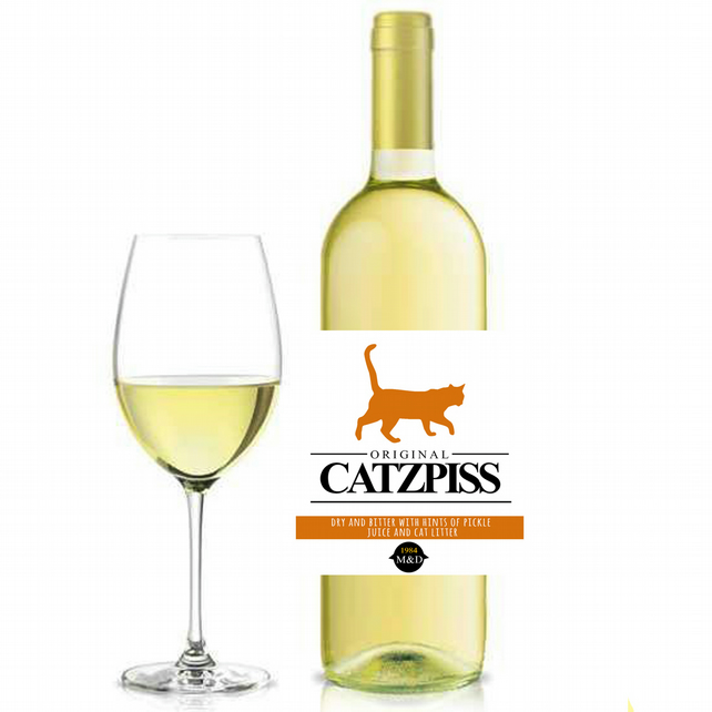 Cats piss wine bottle label