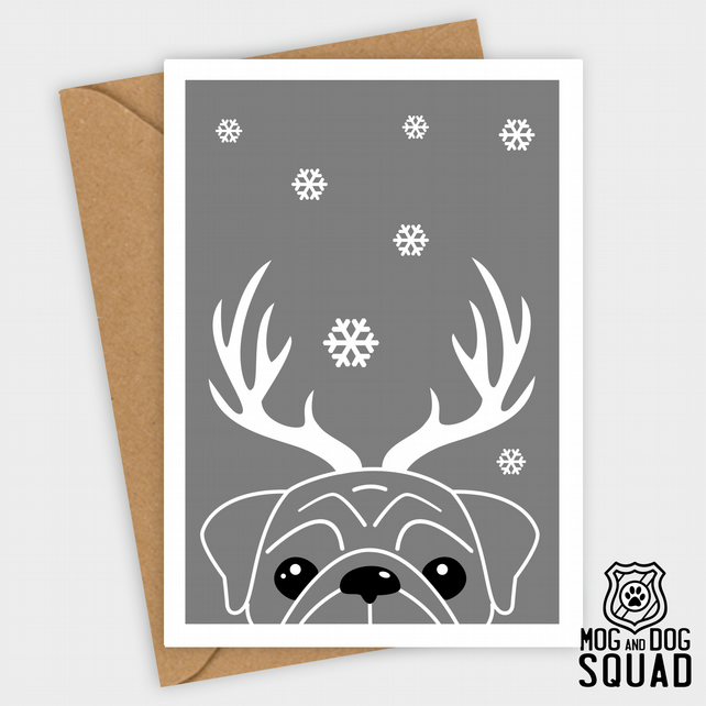 Pug dog reindeer christmas card