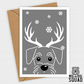 Mini Schnauzer dog reindeer christmas card