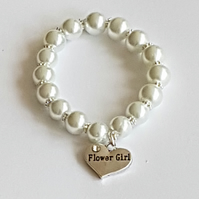 Flower Girl Pearl Bracelet, Gemmed Flower Girl Charm