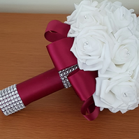 Bridal Bouquet, Burgundy and Ivory Gemmed Foam Roses