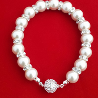 Magnetic Rhinestone Crystal and Ivory Pearl Bead Bracelet
