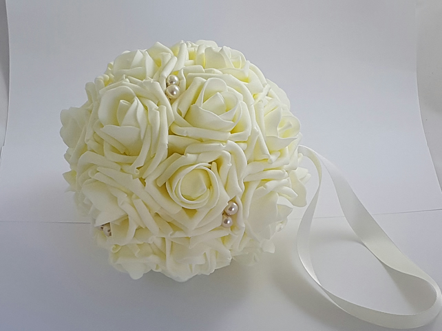 "6"" Wedding Pomander, Flower Girl Bouquet, Kissing Ball"