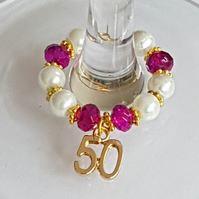 50th Celebrations  Wine Glass Charm Favours