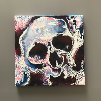 Skull Canvas Mixed Media Painting