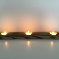A Rustic Wooden Holder for Three Tealight Candles