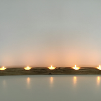 A Rustic Wooden Tealight Candle Tealight Holder for Five Tealights