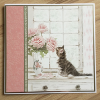 Handmade Birthday Card - Especially for You - Tabby Kitten with Flowers