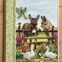 Handmade Birthday card - Donkeys - Blank inside
