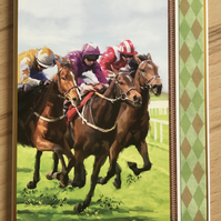 Handmade Birthday card - Horse Racing - Blank inside