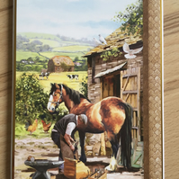 Handmade Birthday Card - Horse in Farmyard - Blank inside
