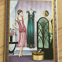 Handmade Art Deco Birthday Card - Blank Inside