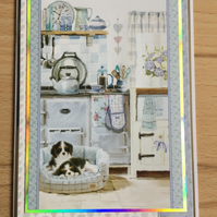 Handmade Birthday Card - Cavalier King Charles Spaniel in Kitchen