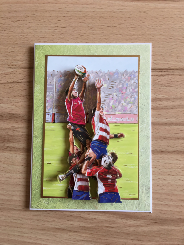 3D Decoupage Handmade Birthday Card - Rugby Union - Blank Inside