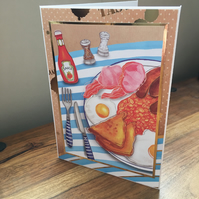 Handmade Card - Full English Breakfast - Blank Inside