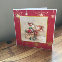 3D Christmas Card - Reindeer - Blank Inside