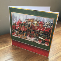 3D Santa Claus & Train Handmade Christmas Card - Decoupage - Blank Inside