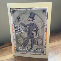 Wine Lover Birthday Card - Handmade Card - wine connoisseur