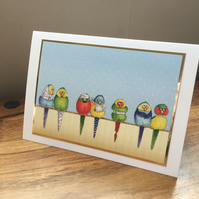 Get Well Card - Handmade - Poorly Budgies