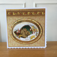 Rabbit Christmas or Winter Birthday Card - Large card 8 inches x 8 inches