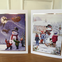 Set of 2 x Snowman Christmas Cards