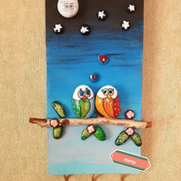 Hand-Painted stone keyholder- Lovers under the moon