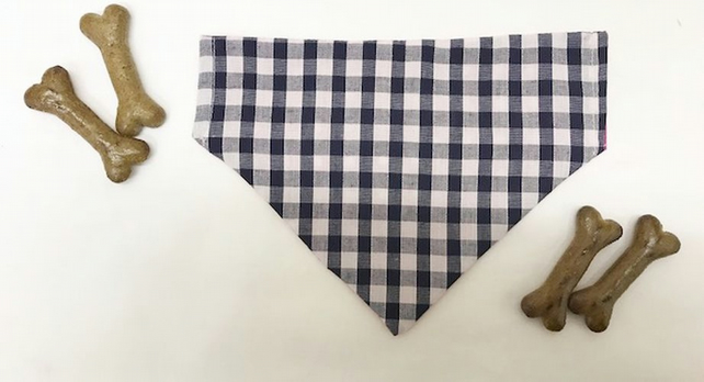 Medium Reversible Blue Gingham Dog Bandana