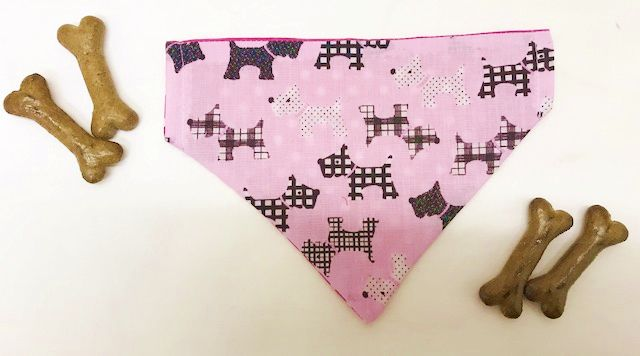 Small Reversible Pink-Black Scotty Dog Bandana