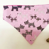Medium Reversible Pink-Black Scotty Dog Bandana