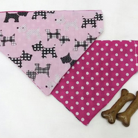 Extra Small Reversible Scotty Dog - Pink Spots Dog Bandana