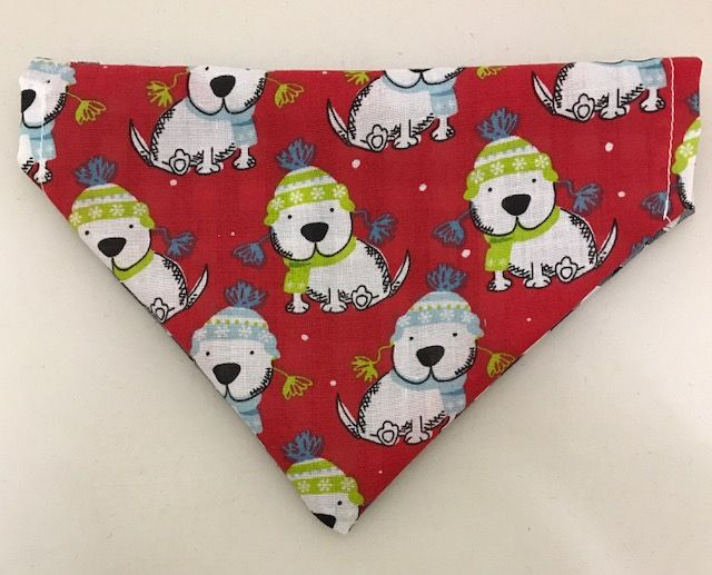 Medium Reversible Snow Dog - Blue Gingham Dog Bandana
