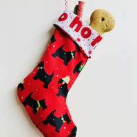Handmade DOG CHRISTMAS STOCKING with treats Puppy Christmas Stocking