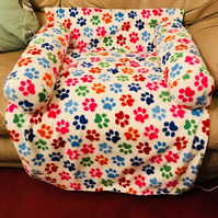 Large Handmade Solid Pattern Dog Puppy Fleece Snuggle Sofa Bed