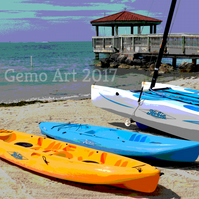 "Canoes, Key West, Florida - Poster Print 20"" x 16"""