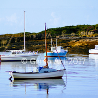 "Boats at Anchor, Isle of Cumbrae, Scotland - Photo Print 20"" x 16"""