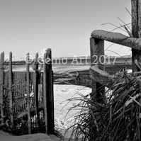 "Winter on Troon Beach, Scotland - Photo Print - Black & White  20"" x 16"""
