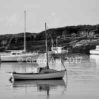 "Boats at Anchor, Isle of Cumbrae, Scotland - Photo Print - B&W 20"" x 16"""