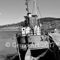 "Puffer at Inveraray, Scotland - Photo Print - Black & White 20"" x 16"""
