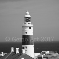 "Lighthouse, Europa Point, Gibraltar - Photo Print - Black & White 20"" x 16"""