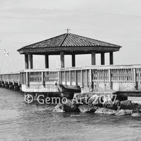 "Pier, Key West, Florida - Photo Print - Black & White 20"" x 16"""