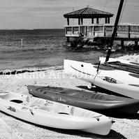 "Canoes, Key West, Florida - Photo Print Black & White 20"" x 16"""