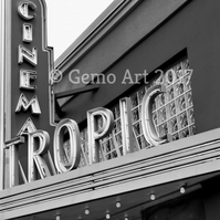 "Cinema, Key West, Florida - Photo Print - Black & White 20"" x 16"""
