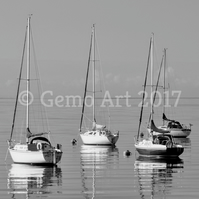 "Sailing Boats, Isle of Cumbrae, Scotland - B&W Photo Print 20"" x 16"""