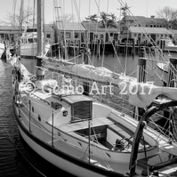 "Sailing Boat, Nantucket, USA - Black & White Photo Print 20"" x 16"""