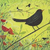 Spring Blackbird Greeting Card