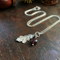 Sterling silver leaf and gemstone necklace